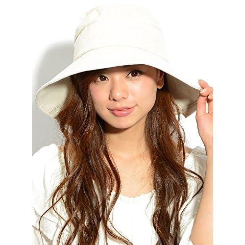 ナチュラル F (ディーループ)D-LOOP ヘムカット 付き UV 加工 リボン ハット つば広 女優帽 小顔効果 紫外線 対策 レディース 日よけ 日除け ひも かわいい おしゃれ カット つばひろ つば広め 帽子 ぼうし つば広帽子 122455-010-828