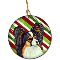 Carolines Treasures LH9255-CO1 Papillon Candy Cane Holiday Christmas Ceramic Ornament