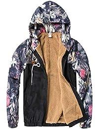 maweisong メンズファッション花プリントロングスリーブフリースアウトウェアジャケット