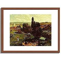 ハンス・トーマ Thoma, Hans「Fruhlingsweide. 1867」インテリア アート 絵画 プリント 額装作品 フレーム:木製(茶) サイズ:M (306mm X 397mm)