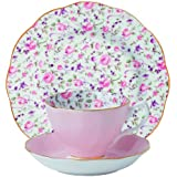 (ROSE CONFETTI 3-PIECE SET (TEACUP, SAUCER & PLATE), Rose) - Royal Albert New Country Roses 3-Piece Confetti Tea Set, Cup, Sauer & Plate