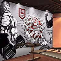 Wuyyii カスタム壁紙3Dジムのフィットネスルームツーリングリビングルームジムの背景の壁紙に壊れた壁-280X200Cm