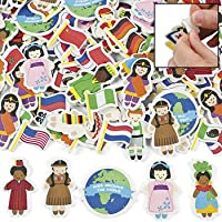 500 Kids Around the World Adhesive Foam Shapes Multicultural Stickers by Fun Express