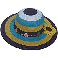 COMVIP Kids Summer Beach Stripes Straw Sun Protection Wide Brim Hat