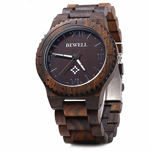 木製腕時計 ウッドウォッチ ウッド 腕時計 メンズ アナログ腕時計 天然木 彫刻 クリスマスプレゼント 贈り物 (黒檀)