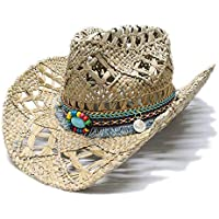 TX GIRL 2019 Cowboy Hat Women's Men's Vintage Wide Brim Straw Sun Beach Cowboy Cowgirl Western Hat Ethnic Style Sun Hat Turquoise Braid Band Novelty Party Costumes (Color : 1, Size : 56-58CM)
