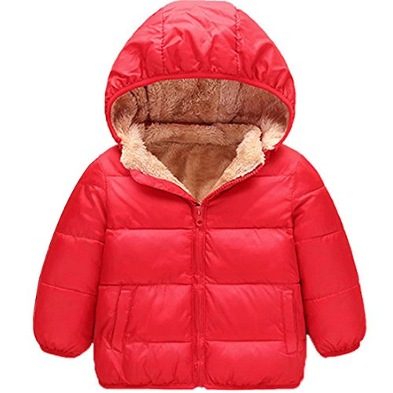 KISBINI キッズ ダウンコート 子どもダウンジャケット 子供綿コート ジュニア綿ジャケット リアルファー 男女兼用 ダウンコート (適当110cm, レッド)