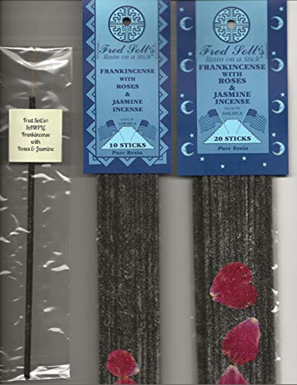 葉っぱ和らげる肺炎Fred Soll 's Frankincense with Roses &ジャスミンお香、20 Sticks