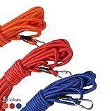 【丸ロープ】 3色長さ3通り ロングリード トレーニングリード 中・大型犬用 (オレンジ, 15m)…