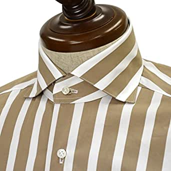 BARBA【バルバ】ドレスシャツ BRUNO I1U262U05231R コットン ストライプ ベージュ×ホワイト(36)