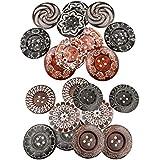 Baoblaze 20 Pieces Retro Wooden Sewing Buttons 4 Hole Decorative Buttons Scrapbooking 6cm