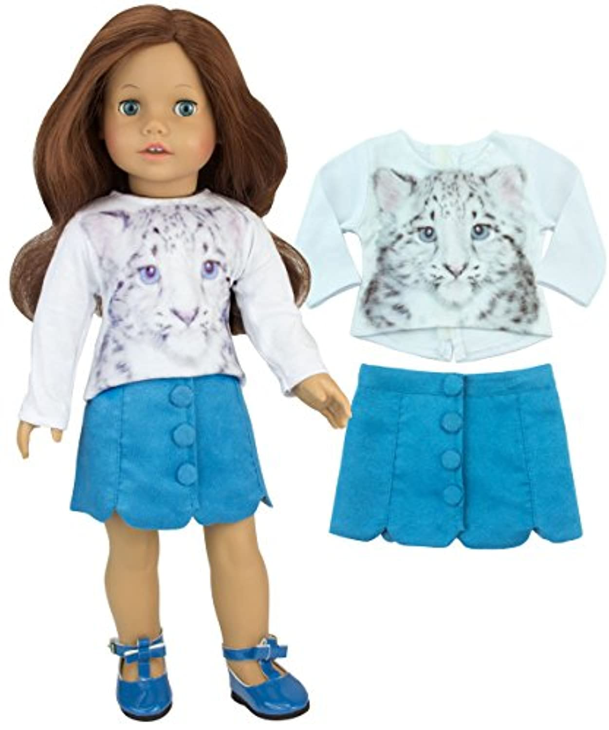 Sophias 46cm Doll Stylish 2 Pc. Outfit of White Snow Leopard Tee & Teal Suede Skirt with Buttons.Doll Cat Shirt and Doll Skirt Set for American Girl Dolls and More