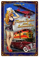 Pin Up Girl Salute To Trains Planes and Automobilesガレージアート複製サイン