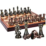 ZEYUGTIW メタルチェスセット 高級ギフト 旅行 インターナショナルチェスゲーム 折りたたみ式 木製 チェスボード チェス駒 チェス