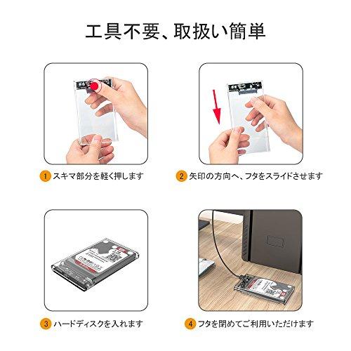 ELUTENG 2.5インチ HDD ケース USB 3.0 透明 SSD 外付け ハードディスク カバー UASP 対応 ポータブル USB SATA ドライブ ボックス 2TB 1TB 512GB 500GB 256GB 240GB 128GB 120GB 64GB 60GB 960 750 等対応 Hard Disk Drive Case USB3 ケーブル付き