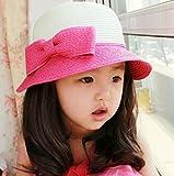 おっきな りぼん 麦わら 帽子 女の子 ベビー キッズ 子供 用 春 夏 / ピンク ブルー ベージュ ブラウン (ピンク)