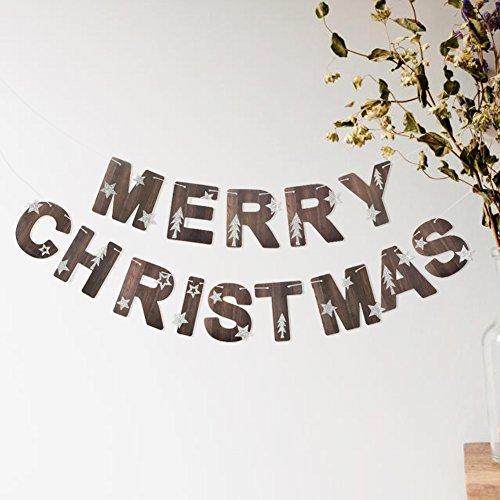 SUNBEAUTY MERRY CHRISTMAS クリスマス ガーランド ウォールステッカー 木目ペーパーフラグ クリスマスパーティー 飾り付け ホームデコレーション 写真背景