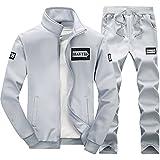 SemiAugust(セミオーガスト)メンズ スウエット セットアップ 春 新品 上下 セット ジャージ ファッションアウトウェア スリム 無地 (グレー XL)