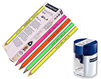 StaedtlerステッドラーDry蛍光ペン鉛筆for Writingスケッチインクジェット、紙、コピー、Fax (Pack of 12 )カラーMix + Tub 2穴シャープナー