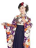 2017年 卒業式 袴セット 小学生 女の子の着物と袴のセット 合繊「紫、麻の葉と菊・鞠」JFK16-05ysm