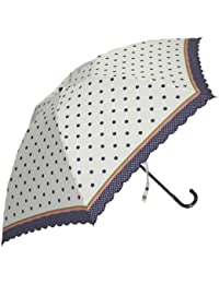 Juvia Pluie[ジュビア] 傘 レディース 婦人用 折りたたみ雨傘 水玉 ボーダープリント スカラー刺繍 黒