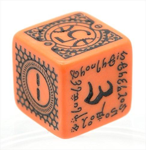 Q-WORKSHOP 限定デザイン D6(6面) ダイス/サイコロ 単品 1個 オレンジ/ブラック
