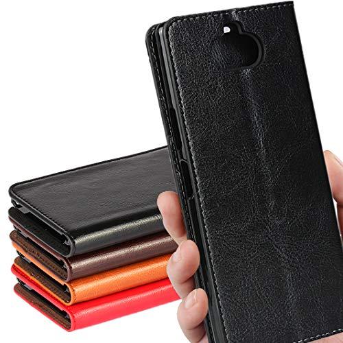 SONY Xperia 8 ケース SOV42 au/ワイモバイル/SIMフリー 対応 手帳型 エクスぺリア 8 カバー xperia8 ケース ソニー エクスぺリア8 手帳 スマホケース case iCoverCase シンプル レトロ スタンド機能 手作り 加工 牛革 スマホケース 財布型 携帯カバー カード入れ 耐久性 摩擦耐性 選べる4色 ブラック