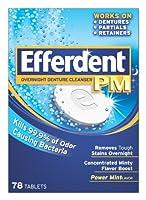海外直送肘 Efferdent Pm Overnight Denture Cleanser Tablets Power Mint, Power Mint 78 tabs