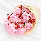 MICOE ソープフラワー 枯れない花 花束 誕生日 記念日 母の日 プレゼント お祝い花 11本 ピンク (ピンク+レッド)