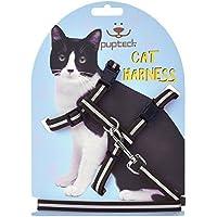 PUPTECK 猫用 ハーネス 小型犬 ハーネス 反射 ナイロン製耐久性良い胴輪 リード付 ブラック