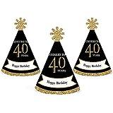 Adult 40th Birthday – ゴールド – Mini円錐Birthday Party Hats – Small Little Party Hats – 10のセット