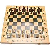 チェスセット チェスセット 折りたたみ式 マグネット式 木製標準チェスゲームボードセット 木製クラフトピースとチェスマンストレージスロットボードとピース付き 34*17cm Balalafairy