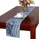 LKCDNG テーブルランナー ブルー 和風の模様 クロス 食卓カバー 麻綿製 欧米 おしゃれ 16 Inch X 72 Inch (40cm X 182cm) キッチン ダイニング ホーム デコレーション モダン リビング 洗える