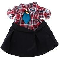 Dovewill 素敵 パフスリーブ ドレス  ネクタイ付属  18インチ アメリカ女の子人形対応  服装