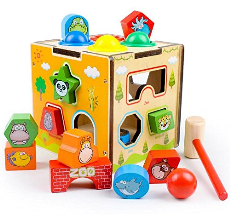 HuaQingPiJu-JP カラフルな木製動物の形状のソーター幾何学的な並べ替えボックス子供のための教育形状色認識玩具(ボール)