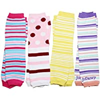 juDanzy Girl Stripes Baby Leg Warmers 4 Pack for Babies Toddlers & Children