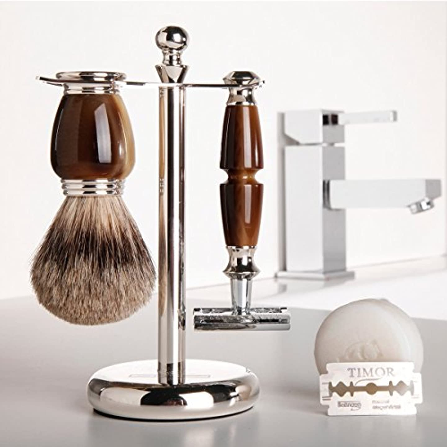 誰も拍手居心地の良いGOLDDACHS Shaving Set, Safety Razor, Finest Badger, Galalith