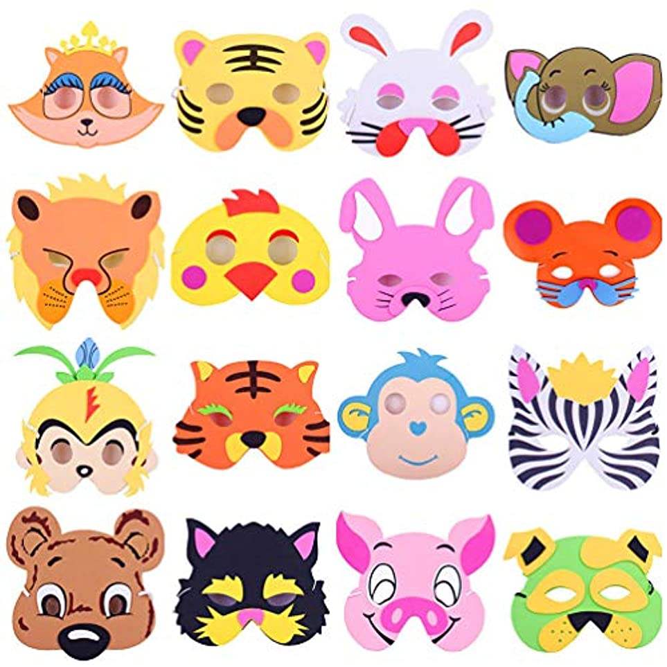 納得させる無知酸素NUOBESTY フェイスマスクかわいい装飾evaクリエイティブ漫画面白いマスク動物マスクセットプロップマスク用キッズ大人16ピース