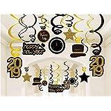 Kristin Paradise 30Ct Happy New Years Eve ハンギングスワールデコレーション 2019 NYEグリッターゴールドブラック装飾 NYテーマパーティー用品パック 大人用パーティー記念品 ホイルホームデコレーションキット