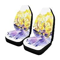 DMHYJ カーシートカバー 花 アヤメ属 自動車 座席 クッション マット 前席 2個 フロントベンチシート用 保護 防水 適用 ずれにくい おしゃれ