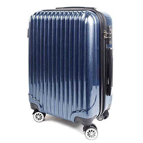 【神戸リベラル】 LIBERAL ポリカーボネート 軽量 鏡面仕上げ S,M,Lサイズ スーツケース キャリーバッグ 拡張型 8輪キャスター TSAロック付き (Sサイズ(1-3泊用 40/50L), ブルーヘアライン)