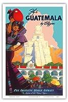 クリッパーによってグアテマラ - パンアメリカン航空 - ティカルマヤ - ビンテージな航空会社のポスター によって作成された マーウ・ファン・アレンバーグ c.1949 - アートポスター - 31cm x 46cm