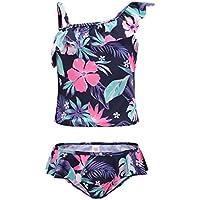 0c2f3a0a34471 Girls Two Piece Tankini Swimsuit Hawaiian Ruffle Swimwear Bathing Suit Set  Blue