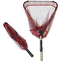 TPOS 玉網 たも 折りたたみ式タモ網 ワンタッチネット 伸縮する玉網 たも網コンパクト最大約190cm収納時約71cm網幅約43cm【フックの位置を改良しました】