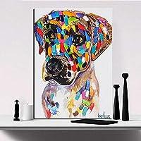 カラフルな動物プリント絵画キャンバス犬馬象画像壁アート用リビングルーム家の装飾,7,50x65cm