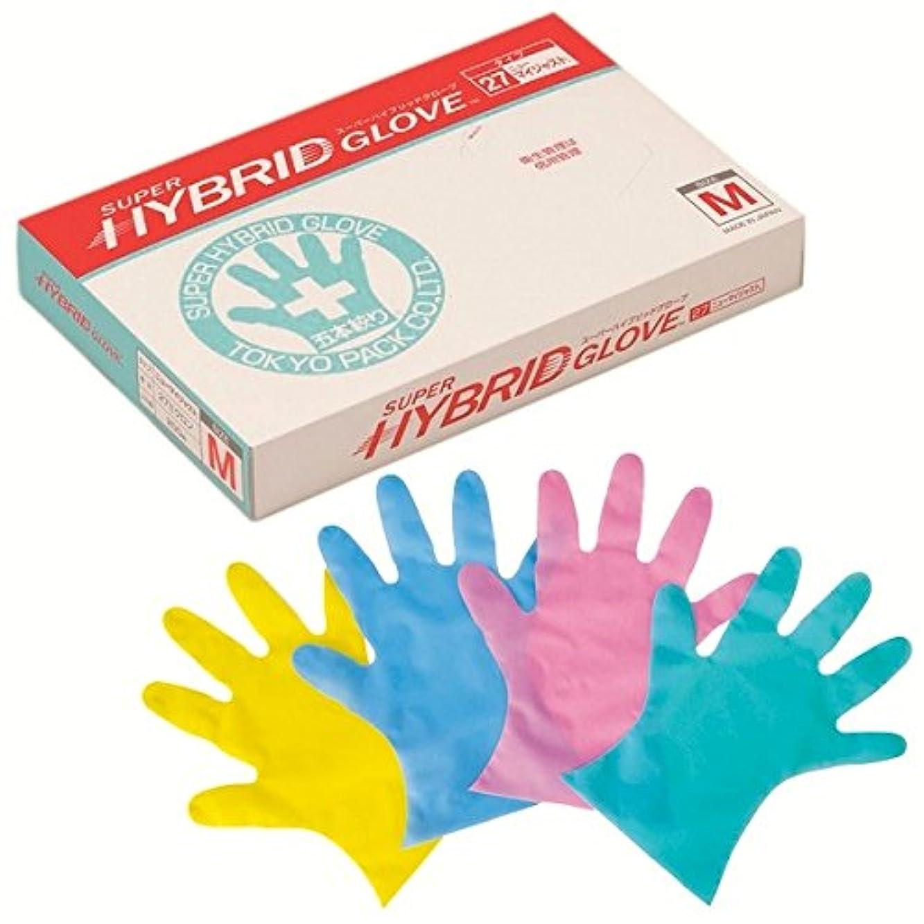 コロニー爪後悔東京パック エンボス手袋 スーパーハイブリッドグローブ ニューマイジャスト ブルー M 200枚