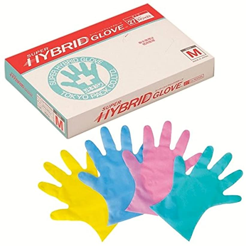 東京パック エンボス手袋 スーパーハイブリッドグローブ ニューマイジャスト ピンク L 200枚