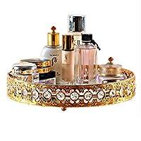 化粧品収納ボックス女の子のお気に入りのギフト欧州裁判所スタイルゴールド化粧品収納ボックス化粧ラウンドトレイハイエンドクリエイティブ金属収納ボックス (Color : GOLD, Size : 30X5CM)