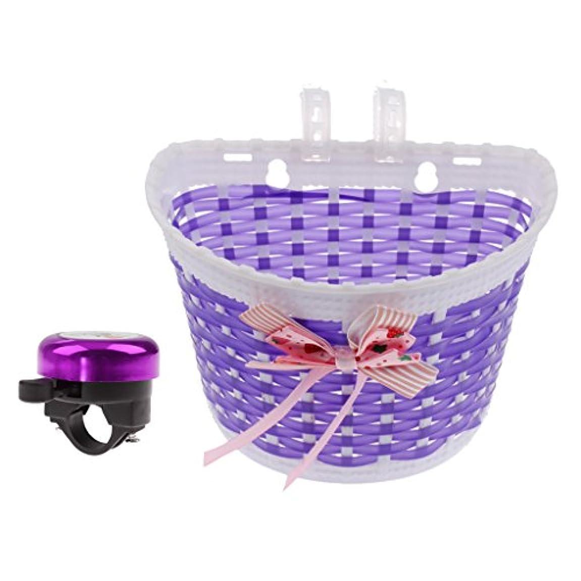 ボットオンとげBaoblaze 可愛い 自転車 交換用 子供用  フロントバスケット+サイクベル バイクアクセサリー 紫