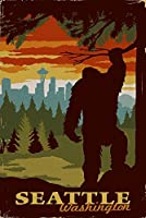 Seattle Skyline – Bigfoot – WPAスタイル 12 x 18 Signed Art Print LANT-85071-708